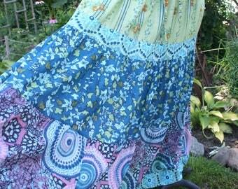 Purple and blue hippie skirt flare twirl twirling India print cotton layered Medium colorful gypsy boho maxi