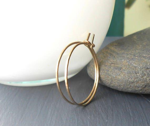 Thin Solid Gold Hoop Earrings