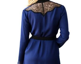 Iris robe in blue silk - navy silk robe, retro vintage style luxury lingerie loungewear, 100% silk georgette robe navy royal blue and black