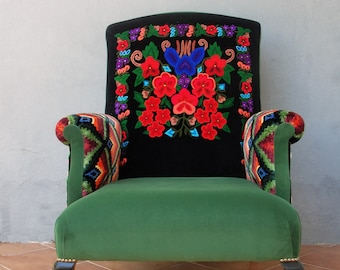 Embroidered Armchair Colorful Bohemian Embroidery Furniture Bergere Vintage Embroidery, Global Textile, Wingback Chair