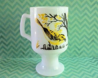 Vintage Milk Glass Pedestal Bird Mug - Vireo