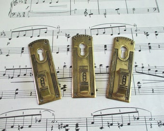 Three Vintage Brass Pulls With Key Hole / Escutcheon