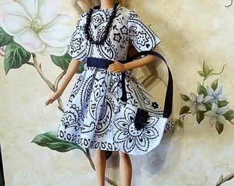 Barbie dress, Barbie purse, Barbie clothes, black and white dress, handmade
