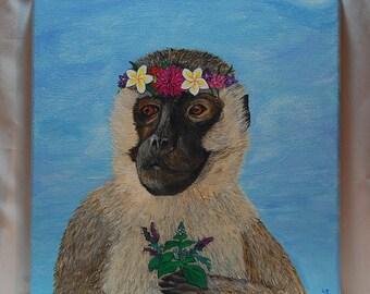 Yoga Circus : Monkey Acrylic on canvas painting by Lisa Scudieri