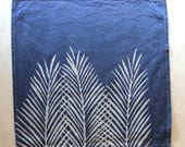 Nipa Palm Leaf Cloth Napkins Palm Print Reusable Napkins Navy Blue and White Cloth Napkins Cotton Napkins Reusable Lunch Napkins Beach