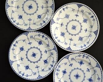 Furnival Denmark Blue Plates Set of 4 Made in ENGLAND Vintage Floral Transferware Decorative  Dessert/Salad Plates Wall Hanging Hostess Gift
