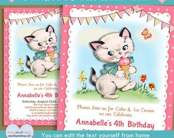 Ice Cream invitation - cute kitty cat kitten with pink ice cream cone birthday invite -  INSTANT DOWNLOAD #P-122 - with editable text