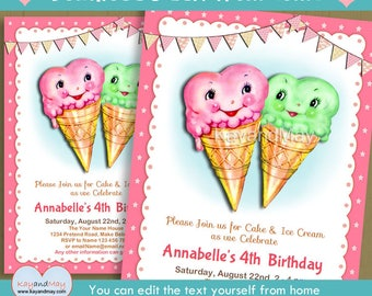 Ice Cream invitation - ice cream birthday party printable invite - ice cream parlor theme - INSTANT DOWNLOAD #P-123 - with editable text
