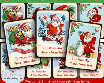Santa Christmas tags - printable Santa Clause theme  gift tags - cute Santa tags for gifts - INSTANT DOWNLOAD #P-16 - with editable text