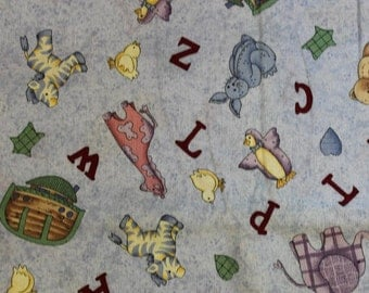 """Leslie Beck A B C animals fabric 100% cotton fabric 42-44"""" wide by Cranston"""