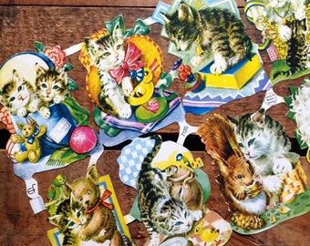 German Scraps - Cats, Kittens - Die Cuts, Cut Outs, Reproduction, Vintage Style, Vintage Inspired, Cute Kittens, Paper Ephemera, Planner