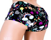 Neon Rainbow Unicorn Retro 80's Boy Shorts booty shorts rave shorts UV reactive  - UV GLOW - Choose Size - MTCoffinz