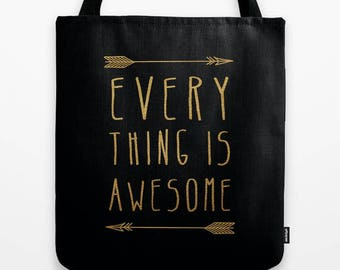 gold and black quote fabric tote bag-inspiring words-minimalist typography tote-affordable gift idea for Christmas-cute market tote