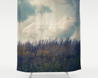 fabric shower curtain-nature photography-bathroom decor-clouds-blue sky-quote-inspiring words-wild flowers-home decor