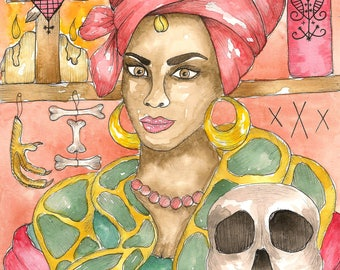 Marie Laveau Voodoo Queen Art Print Priestess Witchcraft Hoodoo Fantasy Art Pagan Art Spiritual Art Magick Witch Santeria Vodou Goddess