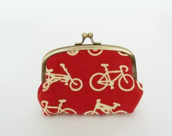 Coin purse, bike fabric, red and cream bicycle design, cotton pouch, credit card case, money pouch, change purse