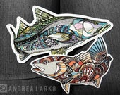 Snook and Redfish 6 Inch 3M Vinyl Decal Pack