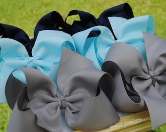 Large Boutique Bow Set - Set of XL Hair Bows - Choose Colors - Huge Toddler Bows - 6 Inch Bow Set - Big Bow Set - Girls Hair Bows - Big Bows