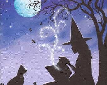 A Familiar Tale, 8 x 10 Print of Original Acrylic Witch Painting by Carolee Clark
