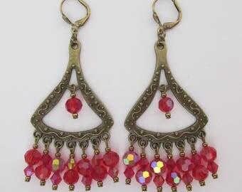 Crystal Chandelier Earrings - Red