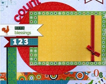 12x12 Premade Scrapbook Page - Count Your Blessings