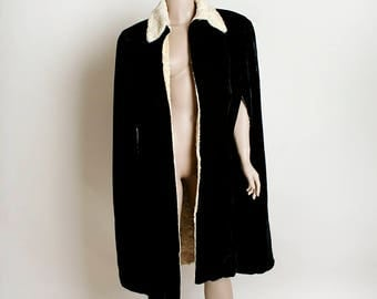 Vintage Velvet Cape - Black Velveteen 1970s Faux Fur Cream Lined Opera Cape - Formal Evening