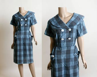 Vintage 1960s Dress - Blue Plaid Wiggle Dress with Double Breasted Buttons & Pockets - Wide Sailor Style Collar - Volup Large