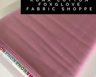 Kona cotton solid quilt fabric, Kona FOXGLOVE 1956, Solid fabric Yardage, Kaufman, Quilting Cotton fabric, Choose the cut