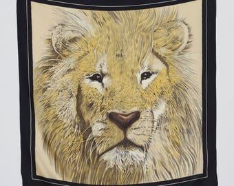 Hattie Carnegie Vintage Large Lion's Head Silk Designer Signed Scarf