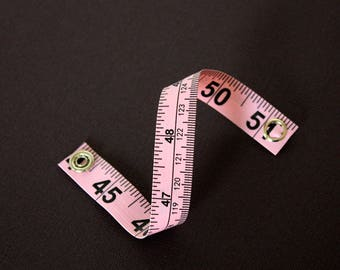 Tape Measure Bracelet in Light Pink - Statement Jewelry created with Upcycled Measuring Tape - Vinyl Snap Bracelet - Crafty Trashion