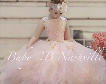 Pink Blush Dress Flower Girl Dress Princess Dress Tulle Dress Ivory Lace Dress Wedding Dress Birthday Dress Tutu Dress Girls Dress