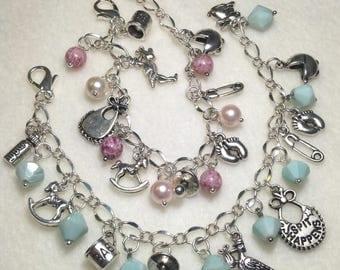 Baby Charm Bracelet. New Baby Bracelet. Baby Boy Bracelet. Baby Girl Bracelet.