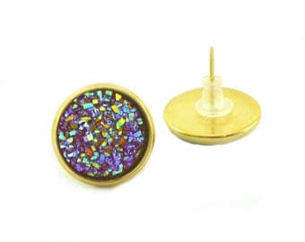 Gold and Rainbow Faux Druzy Stud Earrings