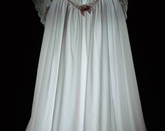 vintage nightgown shadowline pink nylon silky soft dreamy lace medium m long maxi lingerie 80s sleep wear dress lacy feminine