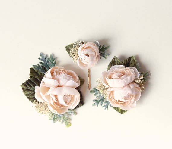 Ivory flower clip set, Autumn wedding hair clips , Off-white flower headpiece, bridal hair accessory, Beige flower clips, Cream floral pins