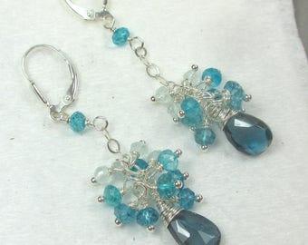 London Blue Topaz Earrings, Aquamarine Cluster Earrings, Gemstone Earrings, Long Dangle Earrings, Handmade Earrings by Maggie McMane Designs