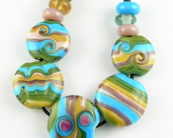 Beadbijoux Striped Handmade Lampwork Glass Bead Set SRA Multicolor Turquoise Blue Olive Green Violet Purple Peach Cream
