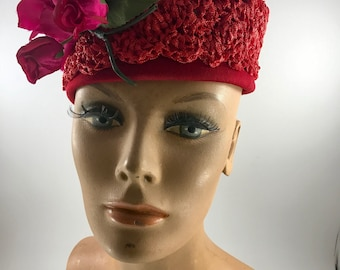 Vintage Ladies' Red Straw Hat with Red Millinery Flowers
