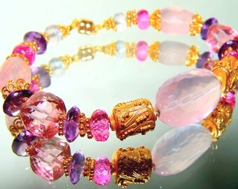 Pink Topaz Amethyst Rose Quartz Bali Vermeil Sterling Silver Stacking Bracelet