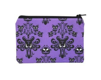 CHOOSE SIZE Haunted Mansion Zipper Pouch / Disney Wallpaper Camera Bag on Purple / Make Up or Coin Pouch