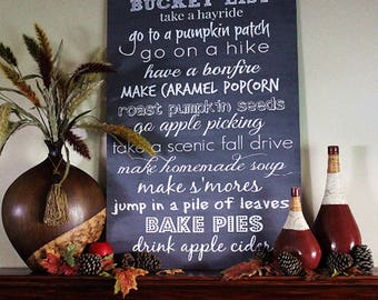 Fall Autumn Bucket List Typography Sign - You choose size 8x10, 16x20, 20x24, 24x36 & type of sign material
