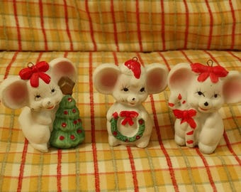 Vintage Christmas Mice, 3 holiday mice ornaments, Made in Taiwan, Wreath, Candy Cane, Christmas Tree, Christmas Around the World, Holiday