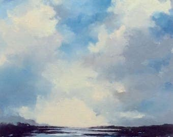 NOON LAGOON, Canvas panel 8x10, oil landscape painting original 100% charity donation, 8X10 canvas  panel, clouds, field