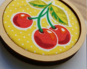 "Women's necklace - cherry fabric embroidery hoop pendant on 50cm / 20"" chain"