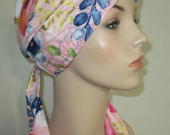 Colorful Floral  Chemo Hat, Cancer Scarf, Surgical Scrub Hat, Turban, Hair Loss Free Ship USA