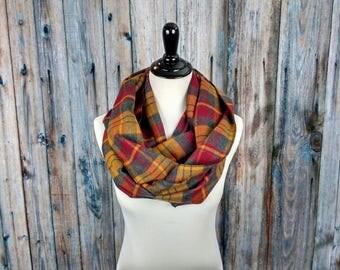 Mustard Plaid Scarf - Warm Scarf - Clothing Gift - Mustard Plaid Flannel - Gift for Her - Infinity Scarf Plaid