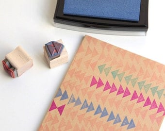 """Triangle Shapes Rubber Stamp (Wood Mounted) Original Geometric Design Set of 2, Double Triangle Mini Duos 1/2"""" size (M1A-1B) DIY Gift Wrap"""