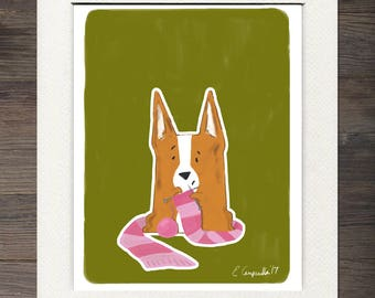Knitting Corgi Matted Art Print