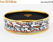 Vintage Hermès Paris Enamel Bangle Bracelet, Reindeer, Deer, Gold, Red, Black, Multi, Christmas, Holiday, Winter, Superb! #c319