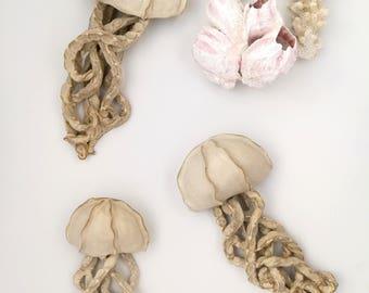 Fancy white Jellyfish ceramic wall sculpture.  Set of 3 art installation. Large wall art.  Bathroom, mermaid, tentacle, sea wall decor.